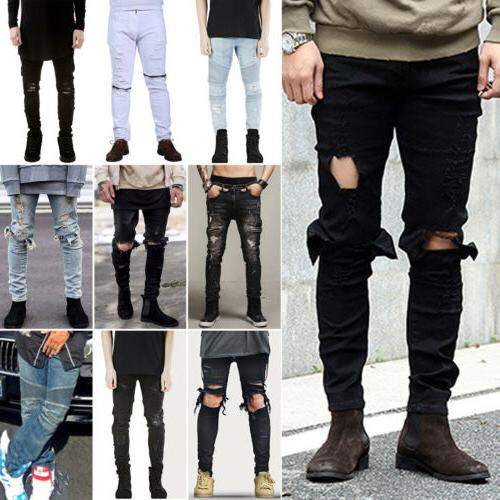 men s ripped skinny biker jeans destroyed