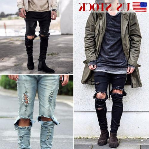 Men's Jeans Destroyed Slim Denim Pants