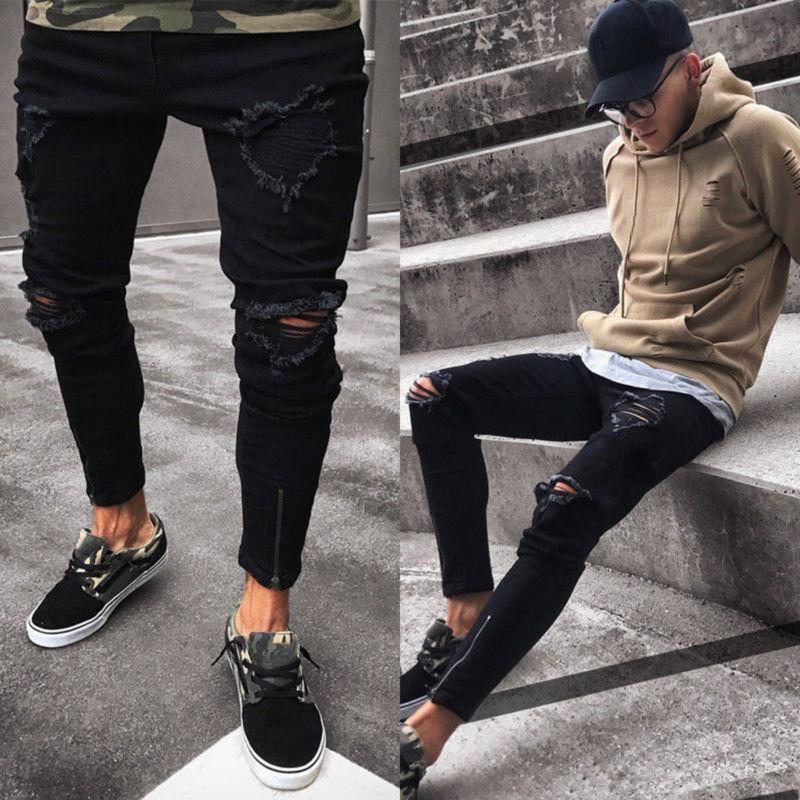 Men's Ripped Skinny Stretch Frayed Fit Pants Trousers
