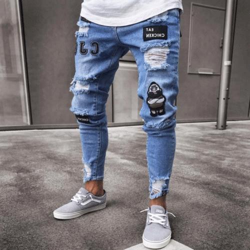 Men's Ripped Skinny Jeans Stretch Frayed Biker Fit US