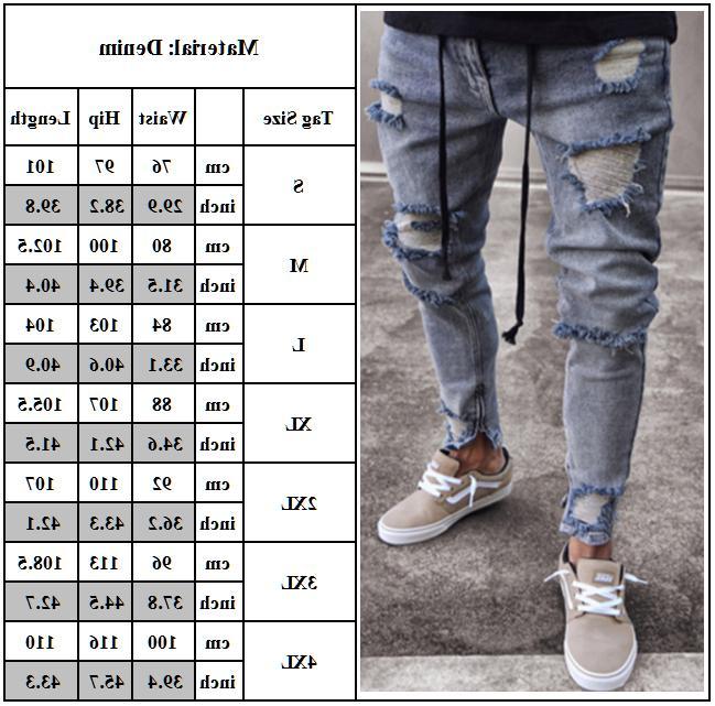 Men's Skinny Jeans Biker Denim Ripped