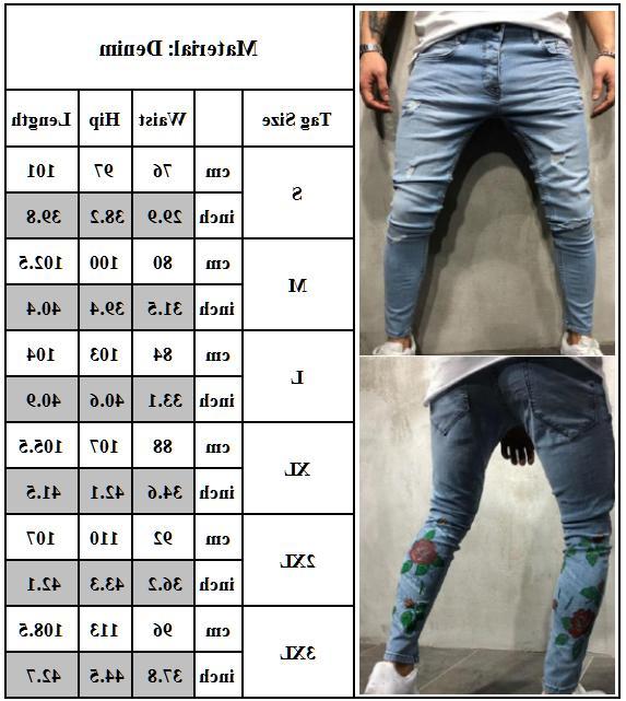 Men's Jeans Biker Destroyed Frayed Denim