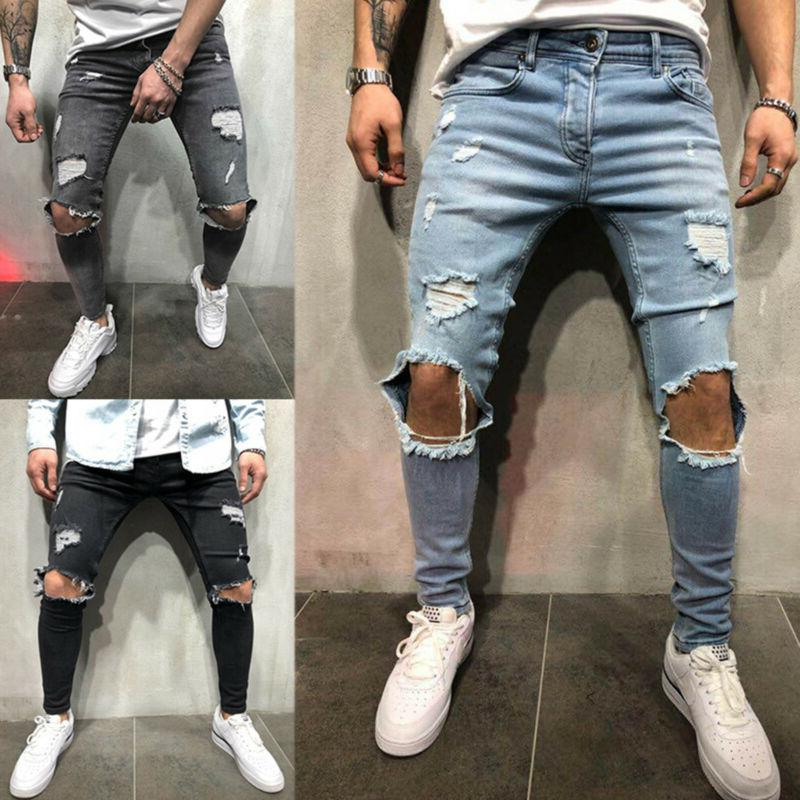 men skinny stretch jeans distressed ripped freyed