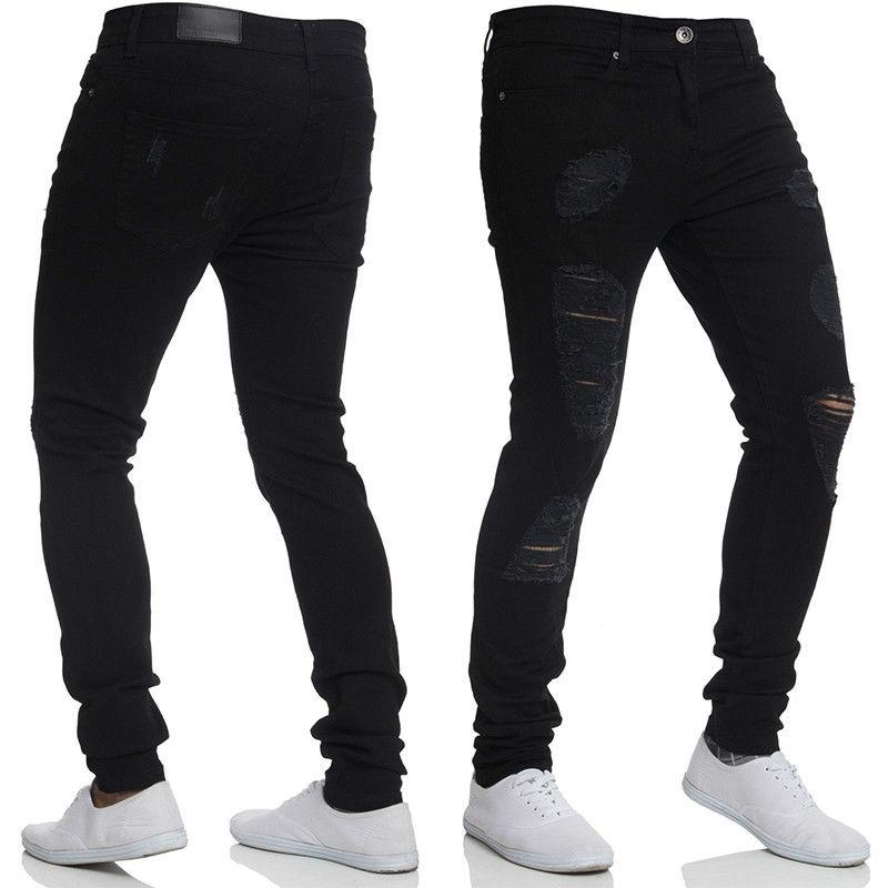 Mens Stretch Ripped Skinny Fit Biker Denim US