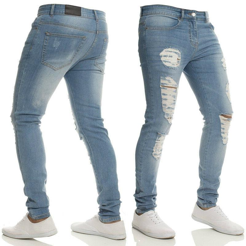 Mens Stretch Ripped Jeans Frayed Fit Denim Pants US