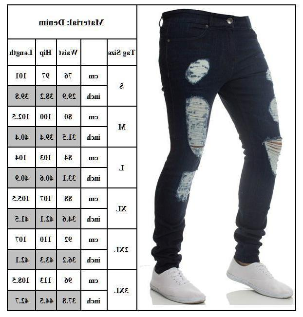 Mens Skinny Jeans Frayed Slim Fit Biker US