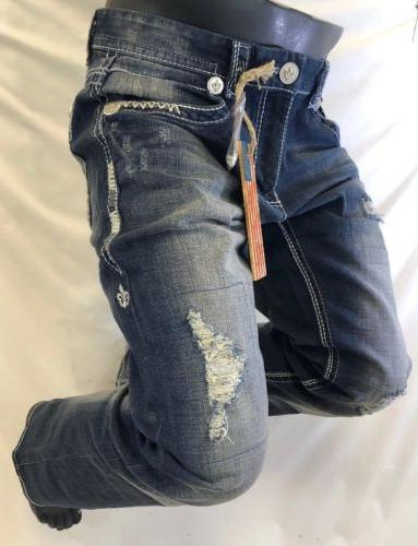 Mens JEANS Straight Leg DESTROYED WHITE STITCH LIS M1B