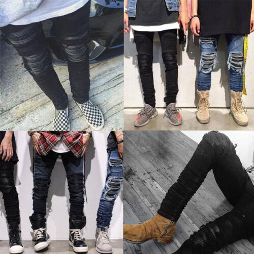 Mens Ripped Zip Jeans Pencil Pant Trousers