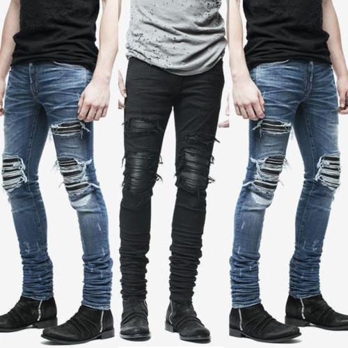 Mens Fashion Slim Ripped Zip Pencil Trousers