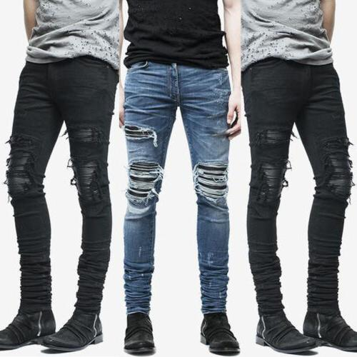 Mens Ripped Skinny Stretch Zip Trousers