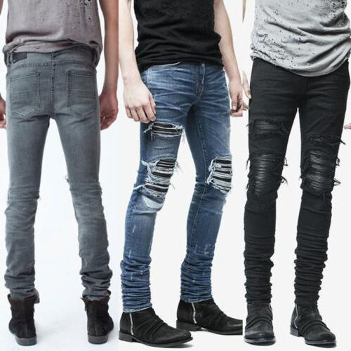 Mens Slim Fit Ripped Skinny Stretch Zip Jeans Trousers