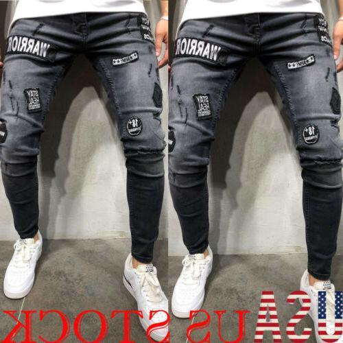 Mens Fashion Slim Fit Ripped Skinny Stretch Biker Zip Jeans