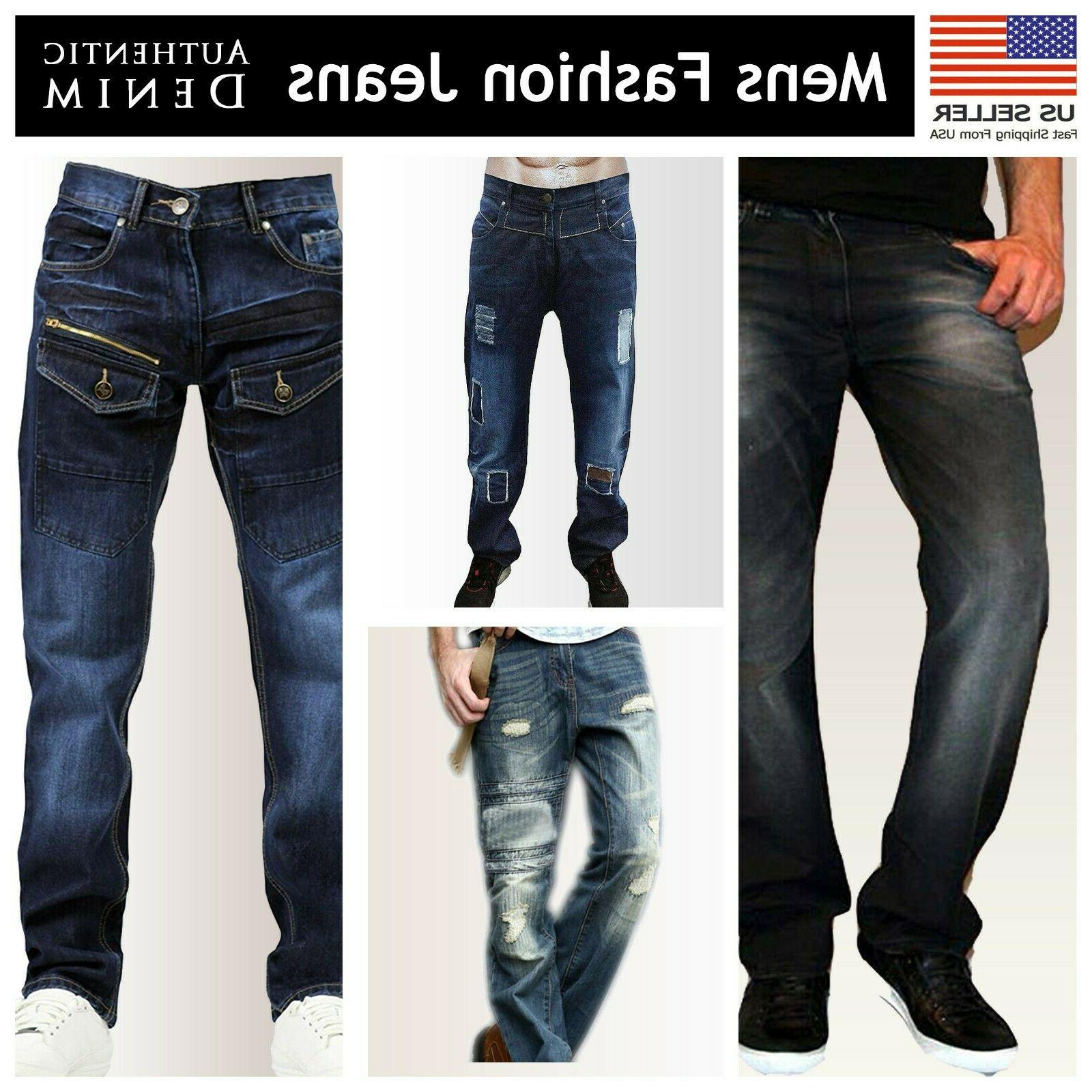 mens regular fit faded ripped jeans straight
