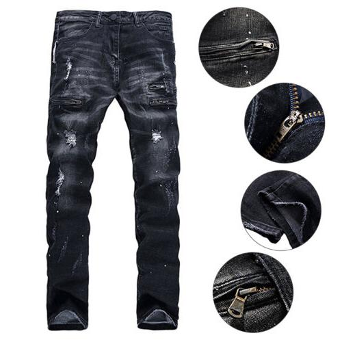 Mens Ripped Jeans Slim Fit Motorcycle Jeans Distressed Denim Jeans Pants