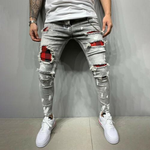 Mens Ripped Denim Jeans Skinny Slim US