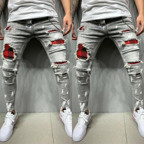 Mens Skinny Denim Slim Pants US