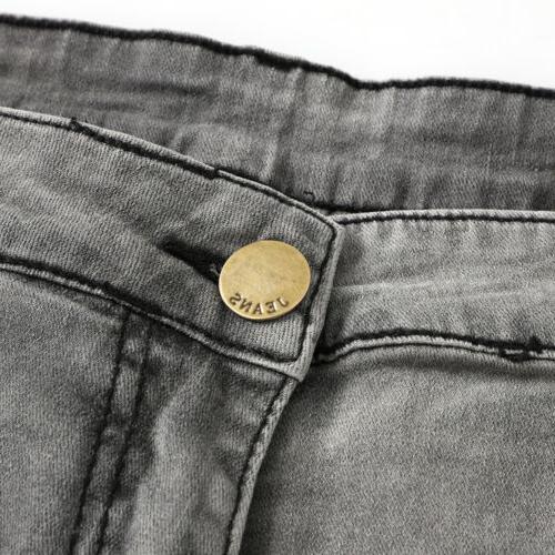 Mens Ripped Skinny Denim Jeans Slim Fit US