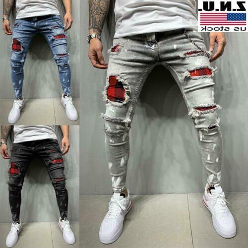 mens ripped distressed skinny denim jeans super