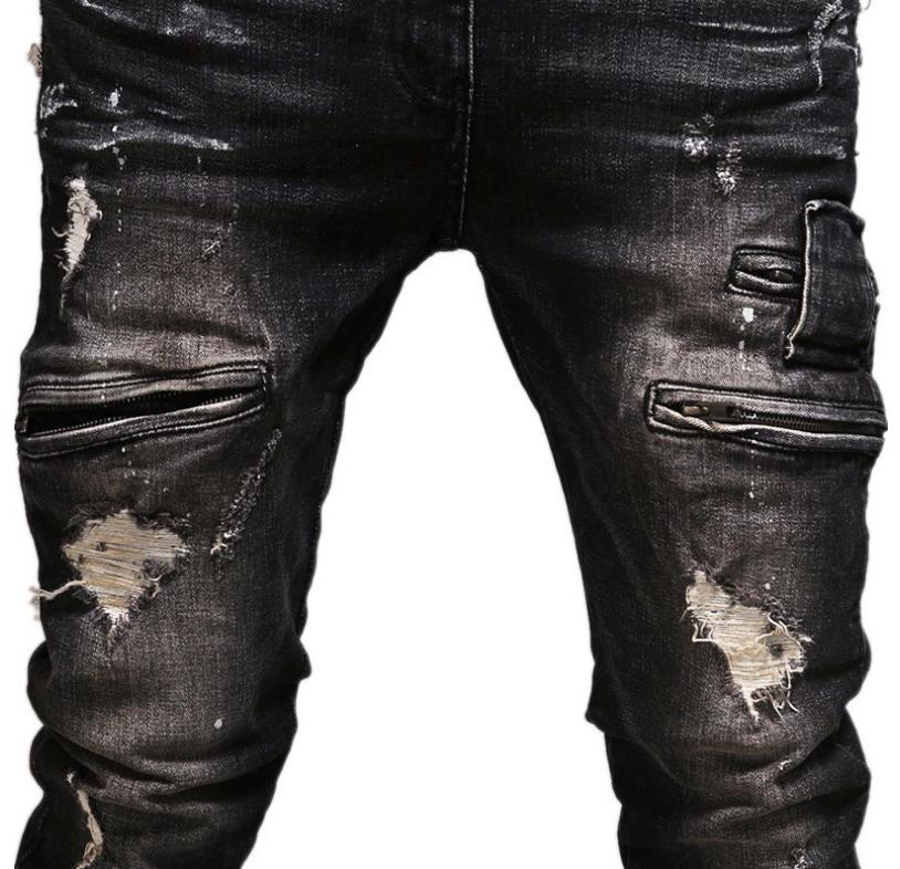 Mens JEANS STRETCH Distressed Ripped Pants Casual Slim BLACK US