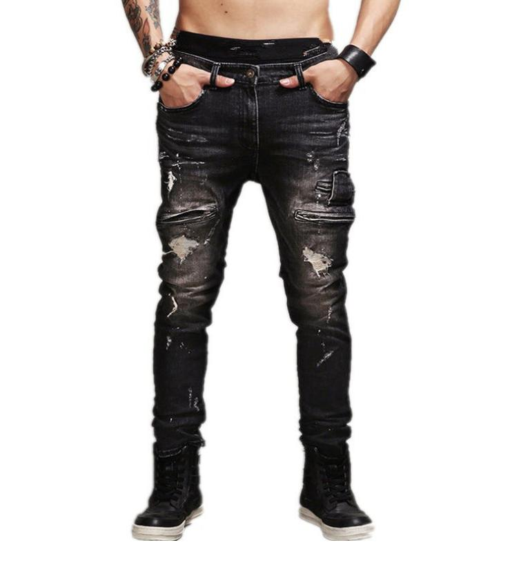 mens skinny jeans stretch distressed ripped denim