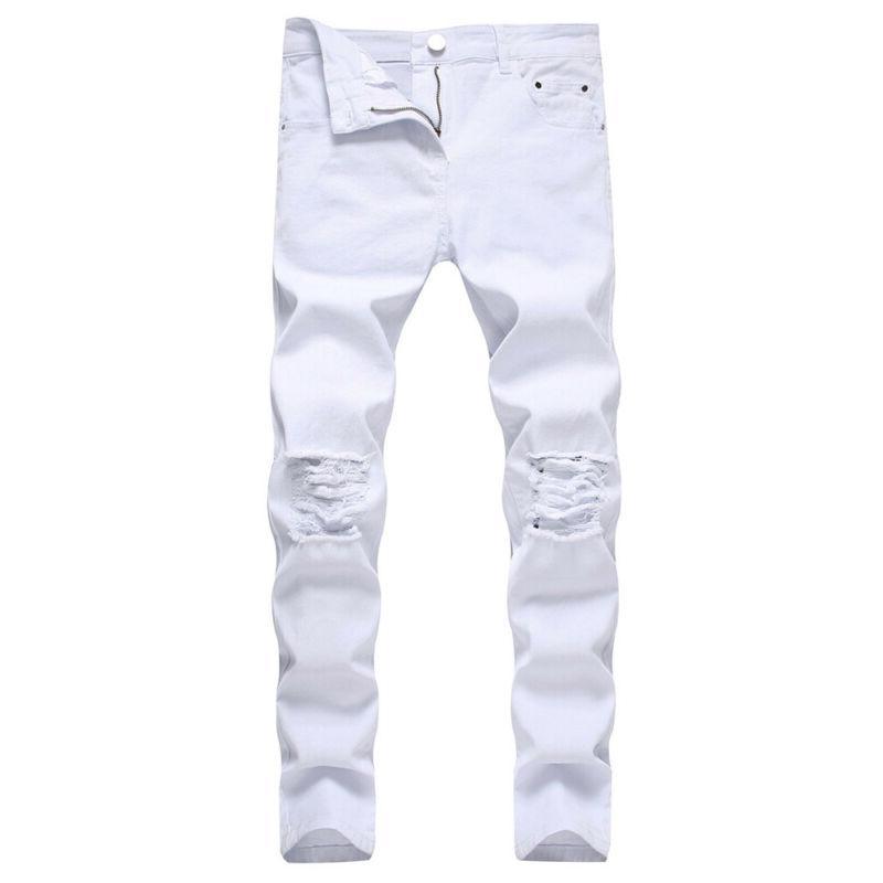 Mens Skinny Denim Jeans Slim Fit Distressed