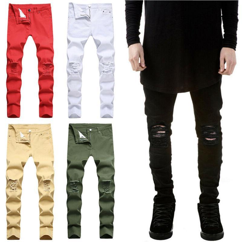 mens skinny stretch ripped denim jeans pants