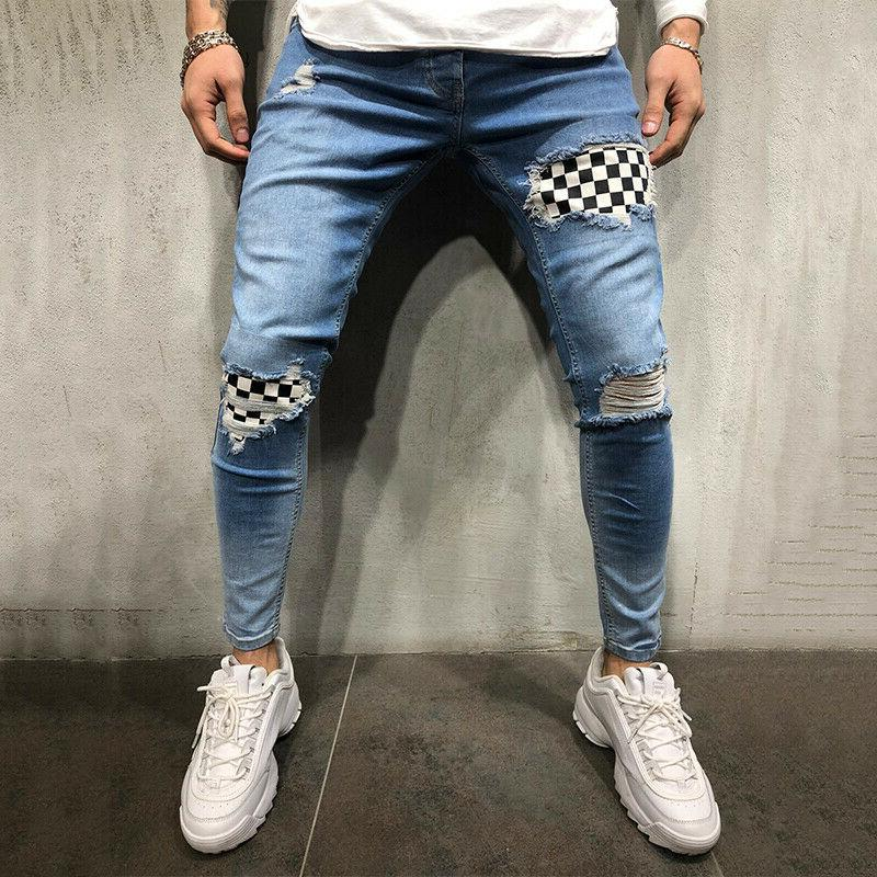 Mens Slim Fit Biker Jeans Denim Distressed Pants Frayed Skinny Trousers