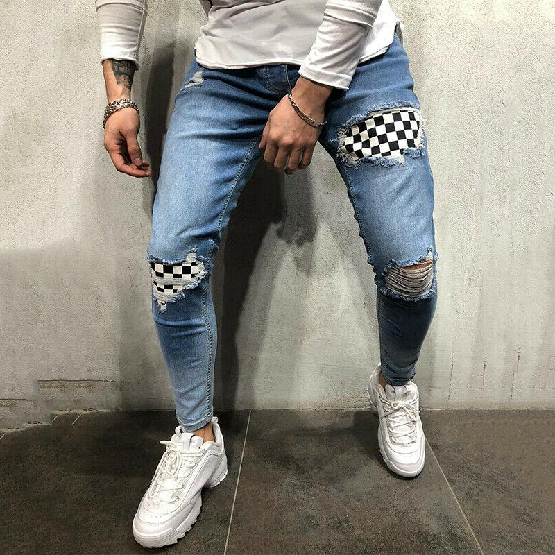 Mens Slim Jeans Ripped Pants