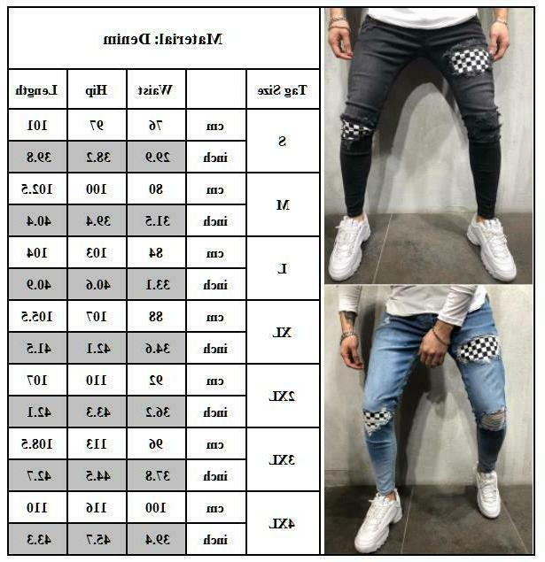 Mens Biker Jeans Distressed Pants Trousers
