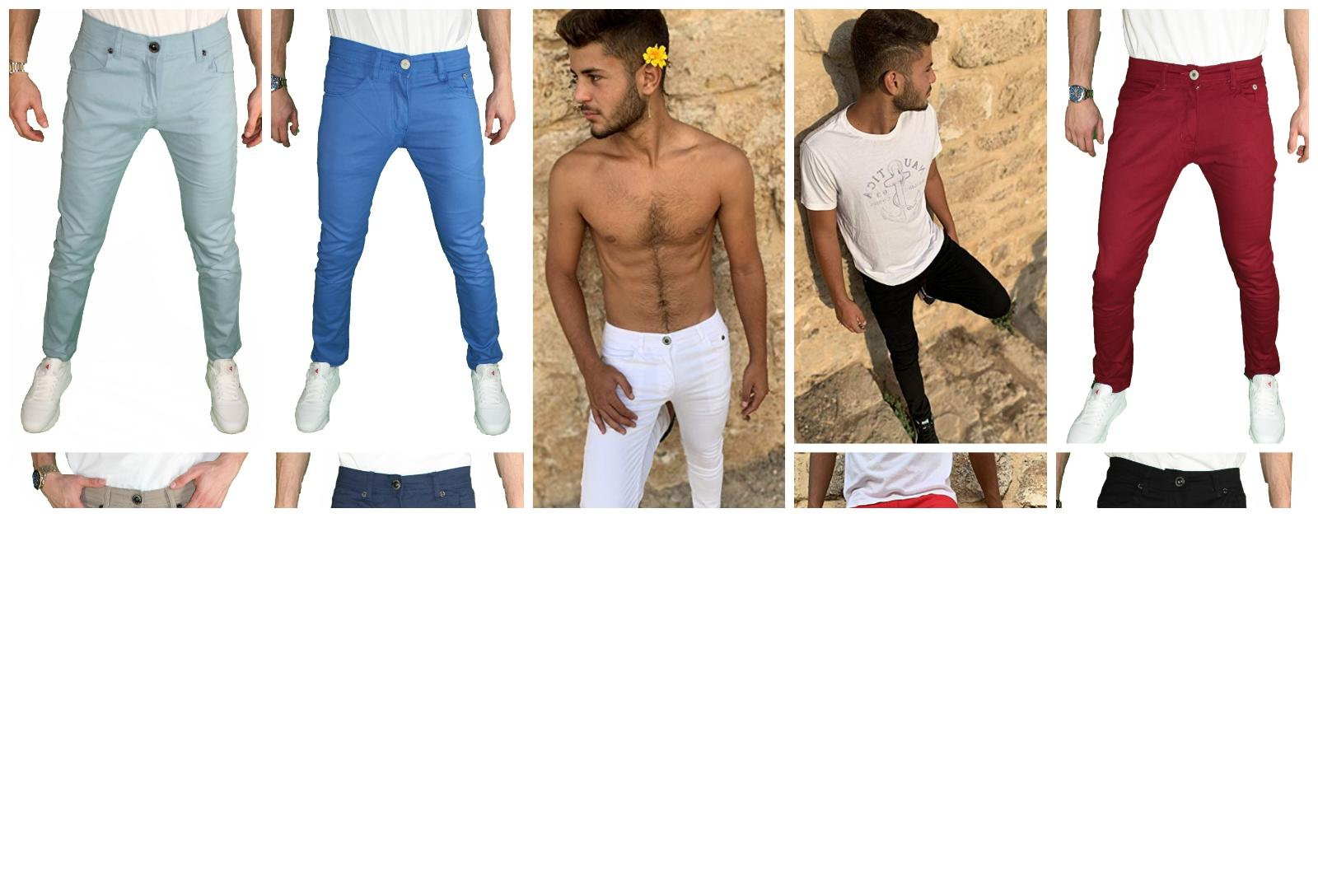 Mens skinny STRETCH Trousers Flat Jeans Pants