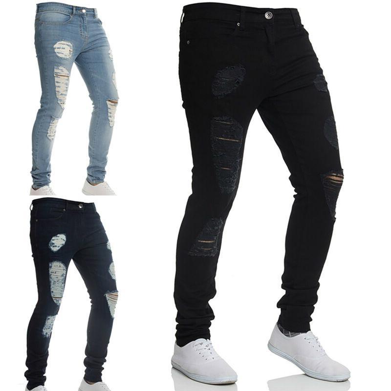 Men Ripped Skinny Jeans Distressed Frayed Fit Denim 3XL