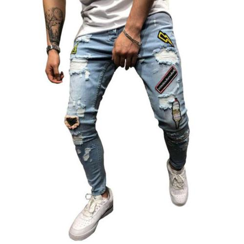 Mens Stretchy Ripped Jeans Frayed Slim Fit
