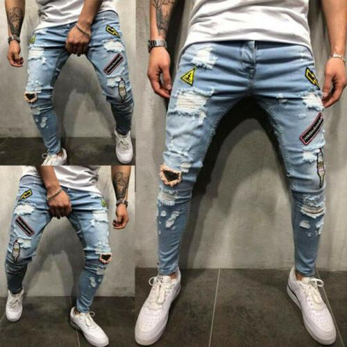 mens stretchy ripped skinny jeans destroyed frayed