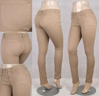 missy junior sretch color skinny jeans pants