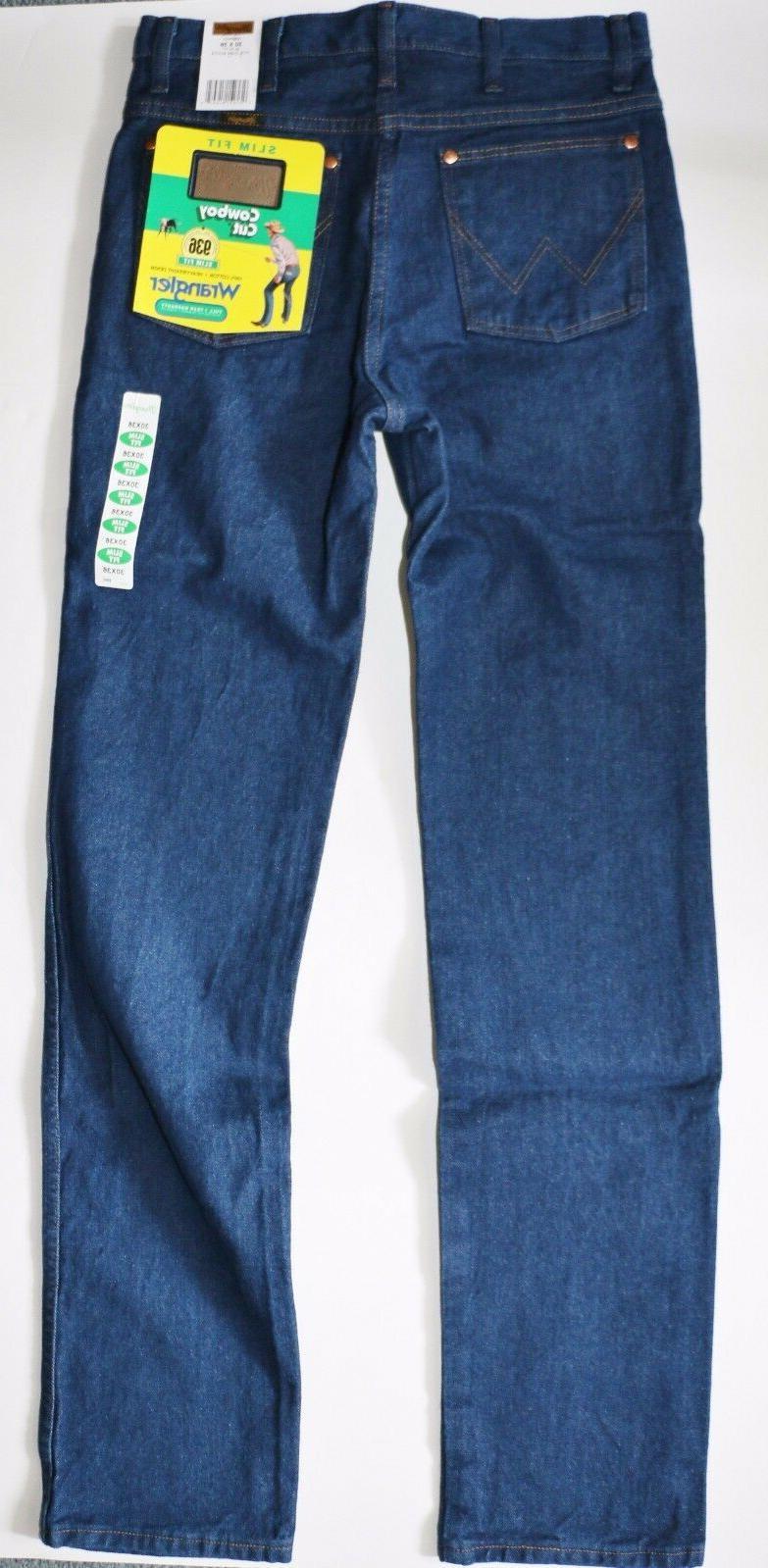 New Wrangler Cut Slim Fit Jeans Men's Sizes Prewashed Denim