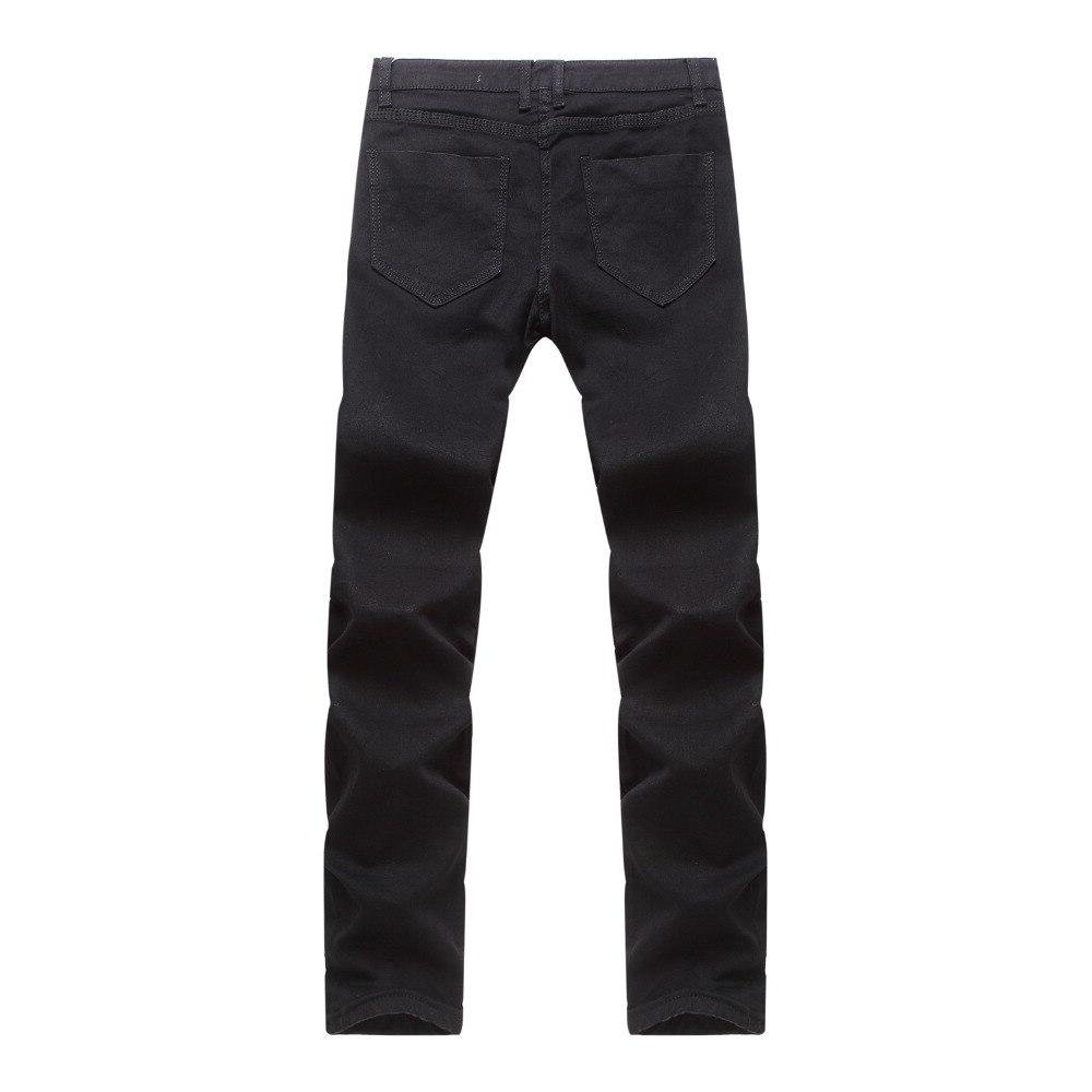 New Fashion Relaxed Fit <font><b>Bootcut</b></font> Mens Dark Hole Ripped Straight Dark Black Pants