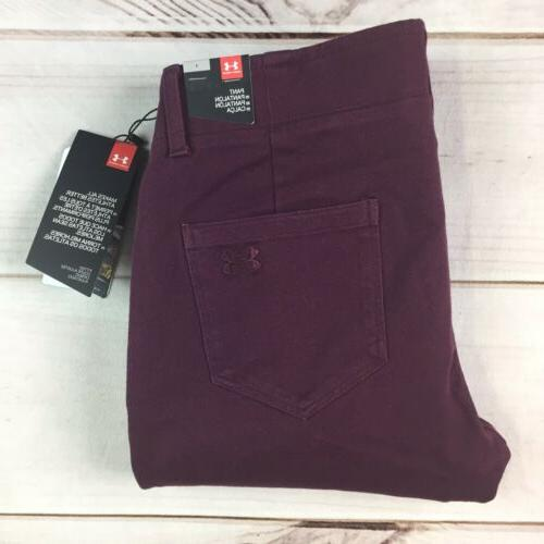 NWT $90 Under Armour Women's Burgundy Fitted Golf Slim Skinny Stretchy Pants