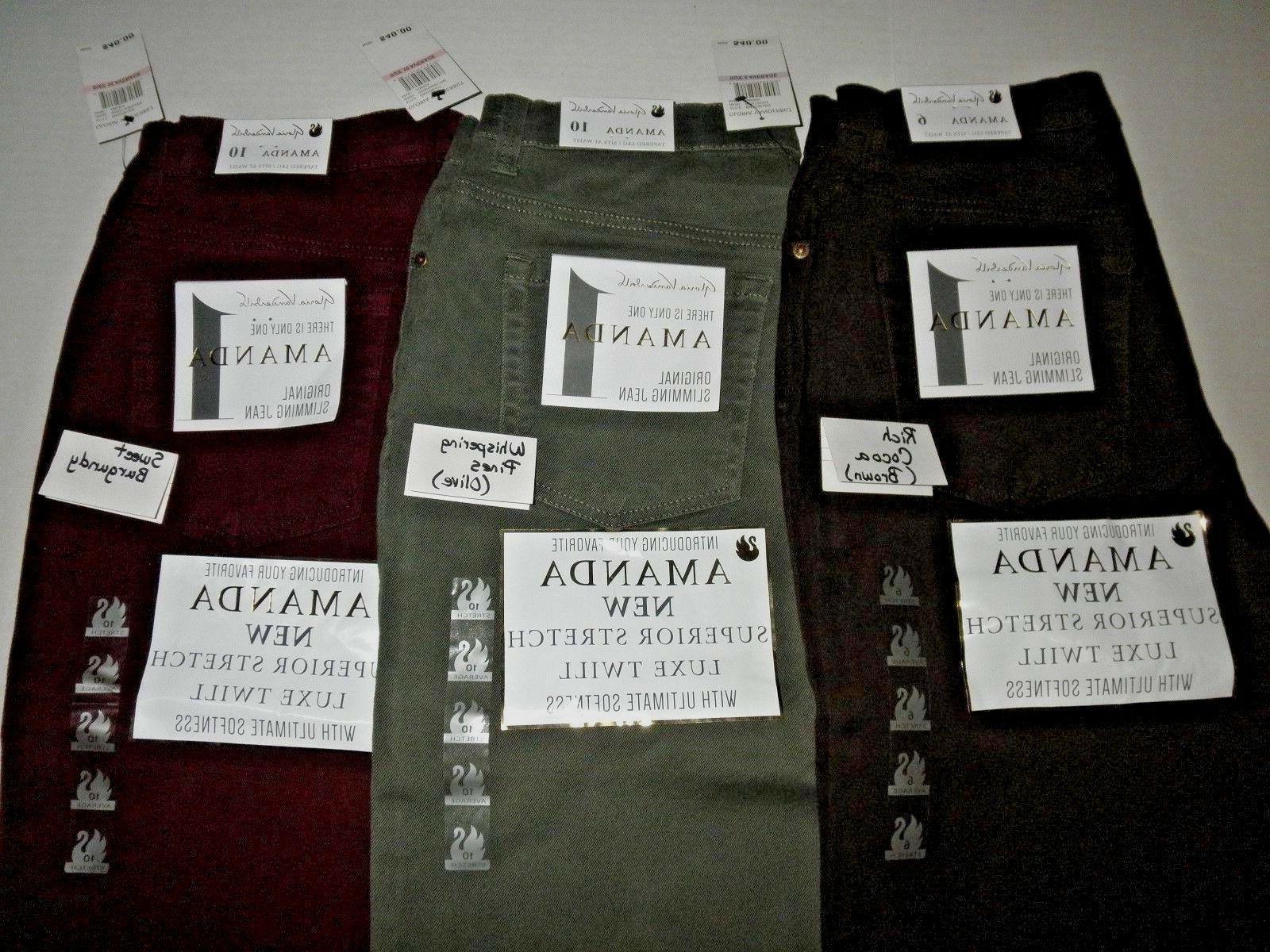 NWT Gloria Vanderbilt Amanda Superior STRETCH pants Colored