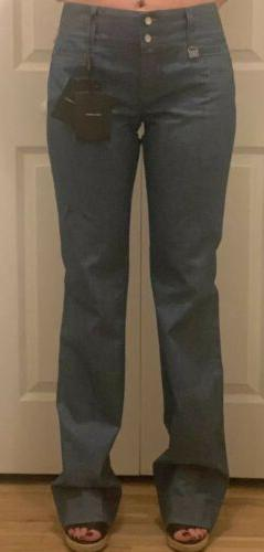 NWT DOLCE & GABBANA Woman's High Waisted Wide Leg Blue Denim