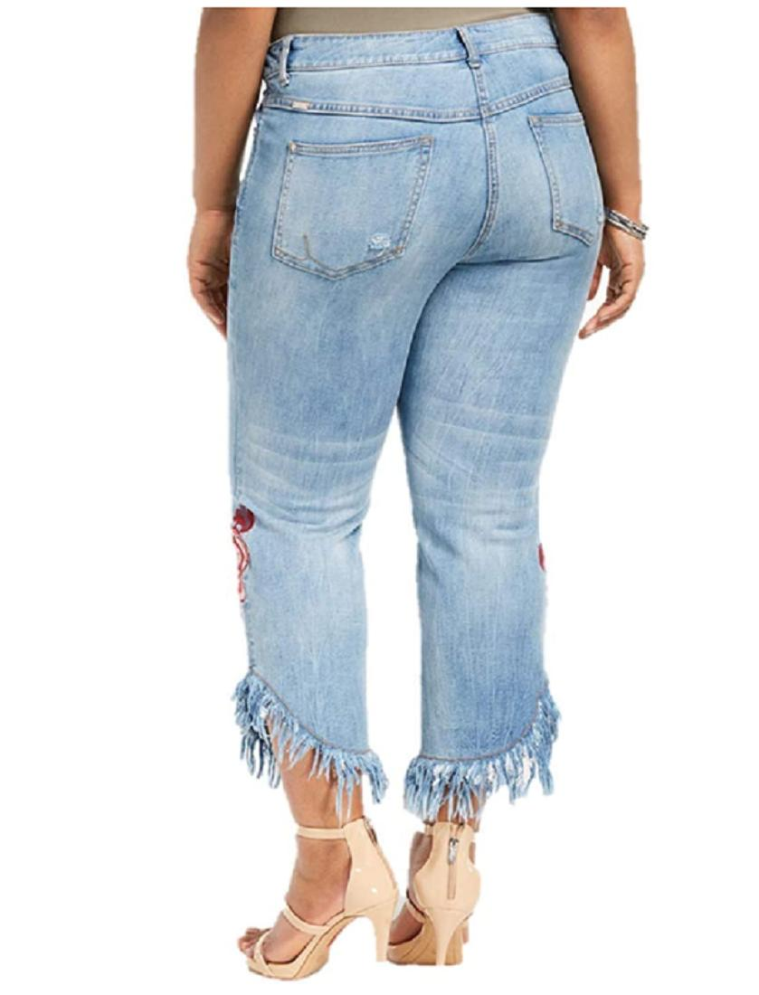 INC International Concepts Plus Size Embroidered Ripped Jeans, Size