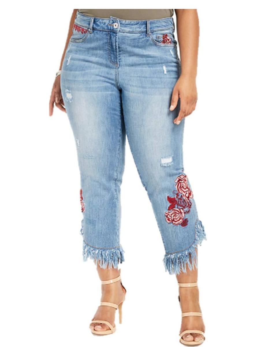 plus size embroidered ripped jeans size 24w