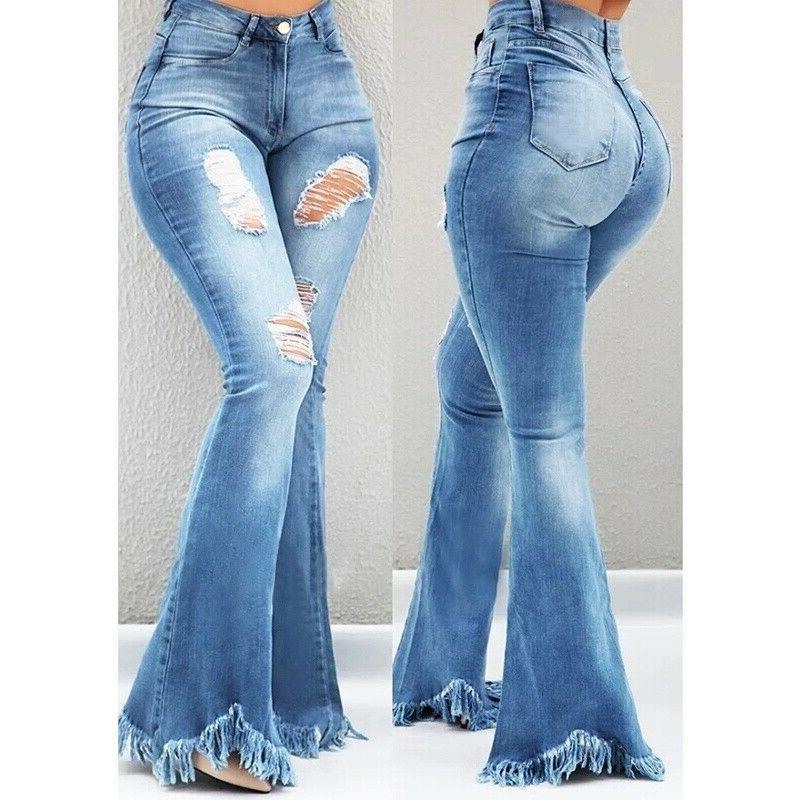 Plus Size Ladies Ripped Leg Pants Flare Bottoms