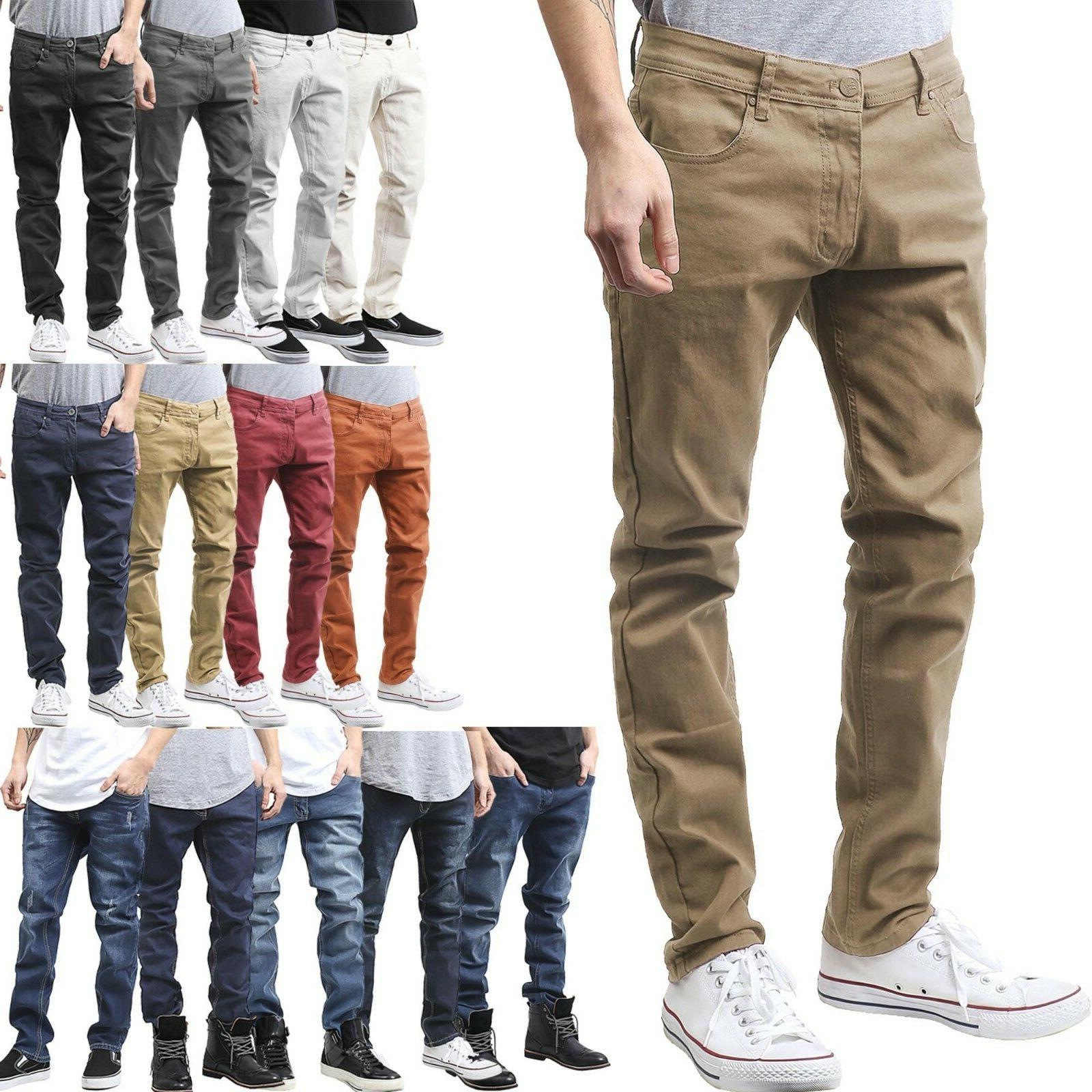 Mens Skinny Jean Slim Fit Denim Color Pants Washed Premium D