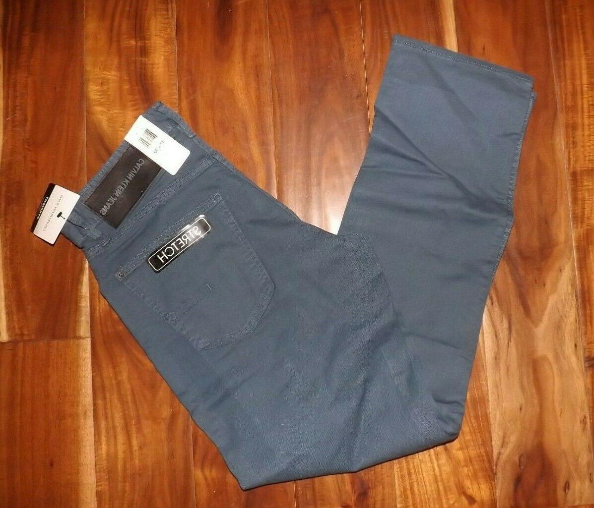 steel blue straight leg jeans pants stretch
