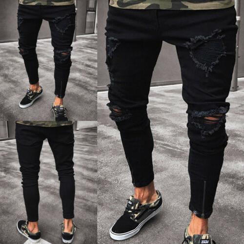 Stylish Men's Jeans Destroyed Slim Fit Denim