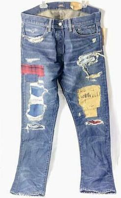 Polo Ralph Lauren Sullivan Slim Blue Jeans Patchwork Distres
