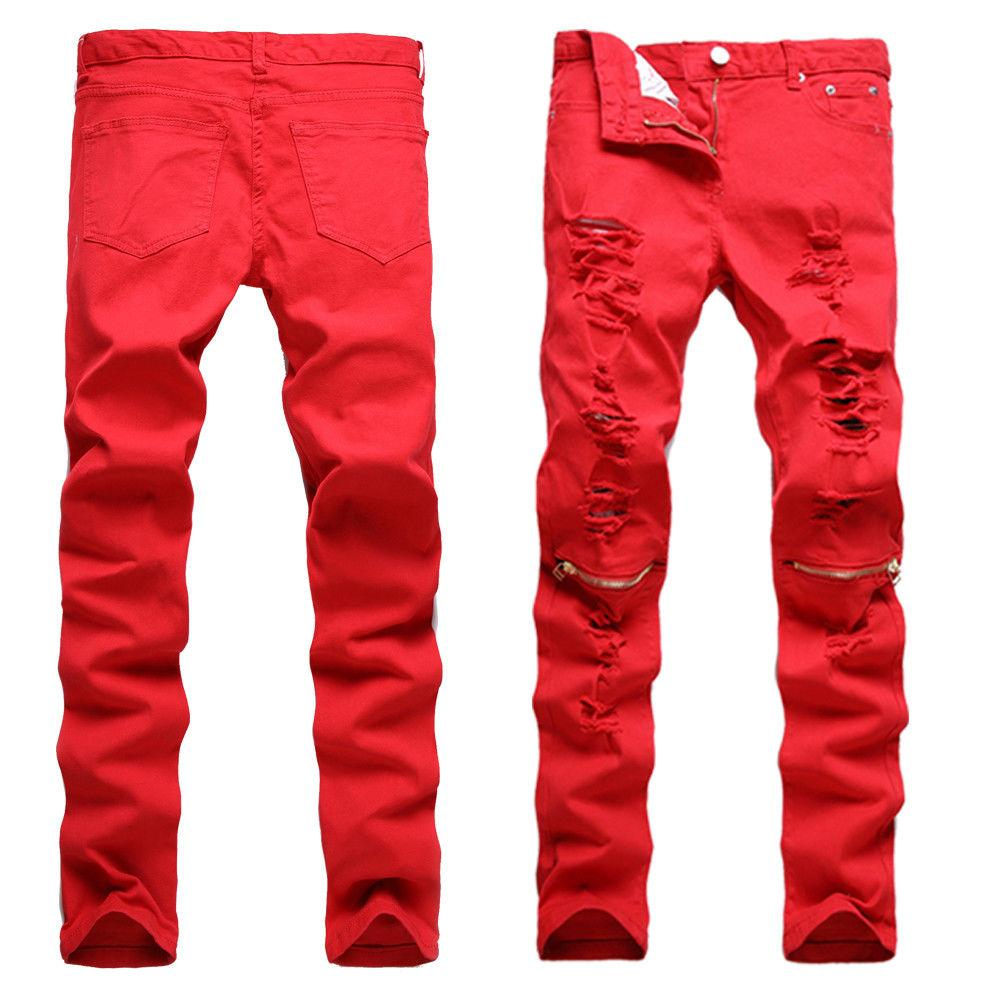 Trendy Men Skinny Distressed Zipper