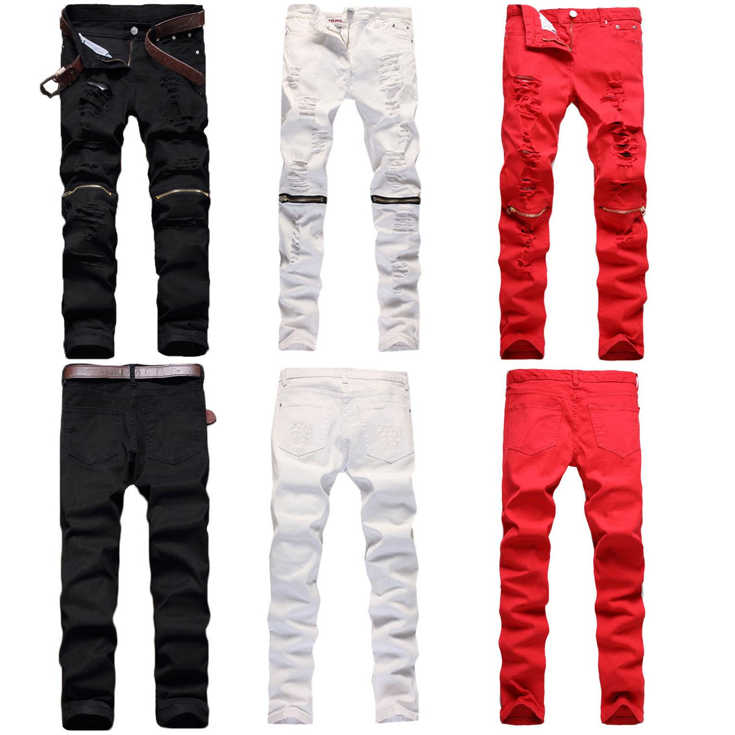 trendy men retro stretchy skinny distressed pants
