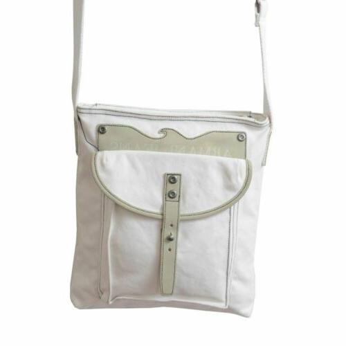 Armani Leather Trimmed Cross Body Messenger Bag