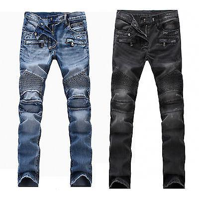 US Men's Stretch Ripped Skinny Biker Jeans Destroyed Taped S
